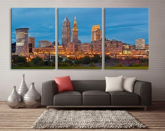 Downtown Cleveland, Ohio skyline - 3 Panel Split, Triptych Canvas print. Cityscape for home or office wall decor and interior design.