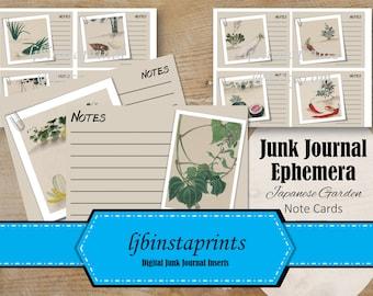 Garden Junk Journal Printable Ephemera, Note Cards, Japanese Garden Ephemera, Narure Note Card Pack, Instant Download