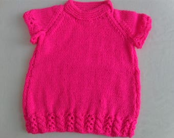 Shocking Pink Baby Dress, Hand Knitted Dress, Baby Clothes, Girls Clothes, Baby Accessories, New Baby Gift, Baby Shower Gift, Baby Dress