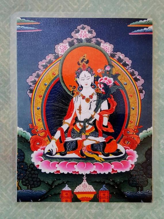 White Tara Buddha Divine Mother White Tara Card Goddess