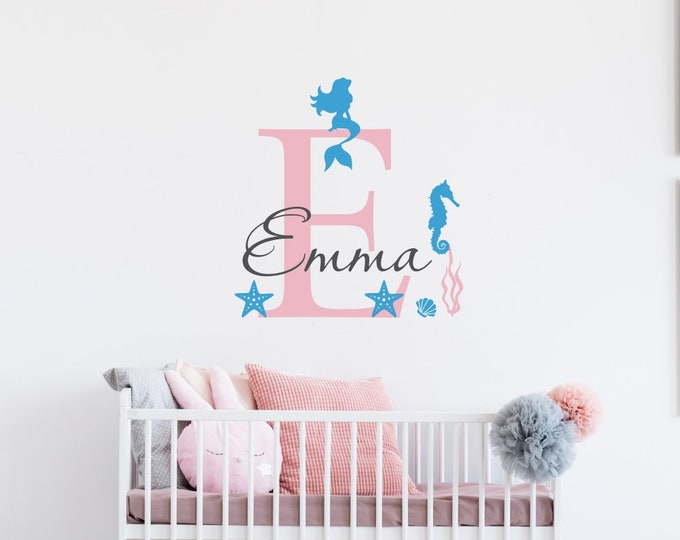 Nursery Mermaid Decor/Baby Girl Mermaid Decor/Mermaid Stickers/Mermaid Decal/Mermaid Wall Decal/Mermaid Decals For Wall/personalized mermaid