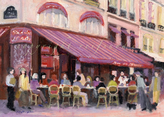Cafe Print Paris Bar French Street Scene France City Of