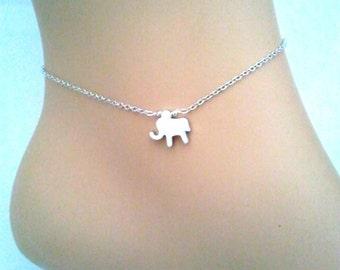 Tiny elephant Anklet, elephant bracelet, Lucky charm Anklet, Rose gold, 14k gold filled chain anklet, Graduation Gift,