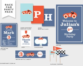 Vintage Race Car Invitation, Bunting Flags, Cupcake Toppers, Tags, Drink Labels, Backdrop, Poster (DIY Printables)