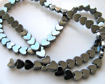 Hematite hearts, listing for 40 beads - #102
