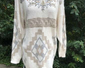 Silk Angora Sweater, Vintage 80's Beaded Embroidered Pullover, Size Large