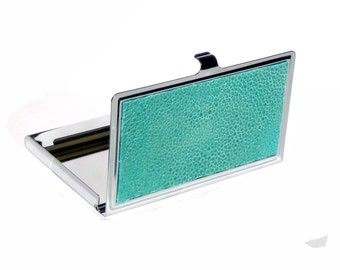 Genuine Polished Stingray Business Card Case in Aqua