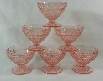 Jeannette Holiday Buttons & Bows Pink Sherbet Footed Bowls Set of 6