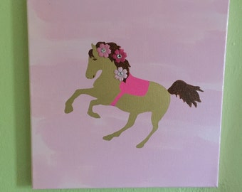 Horse Decor, Horse Art, Girls Room Art, Pink and Gold, Pony Art, Cowgirl Art, Farm Decor
