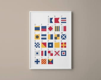 International Maritime Signal Flags and Phonetic Alphabet Chart // Colourful modern art // Nautical Art // Typography Art // Gifts for him