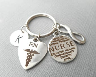 RN Registered Nurse, Nurse/ Infinity -Initial Keychain/ college graduation, gift for her, for girls, graduation party ideas, female, medical