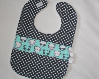 Panda and Dots Chenille Boutique Bib