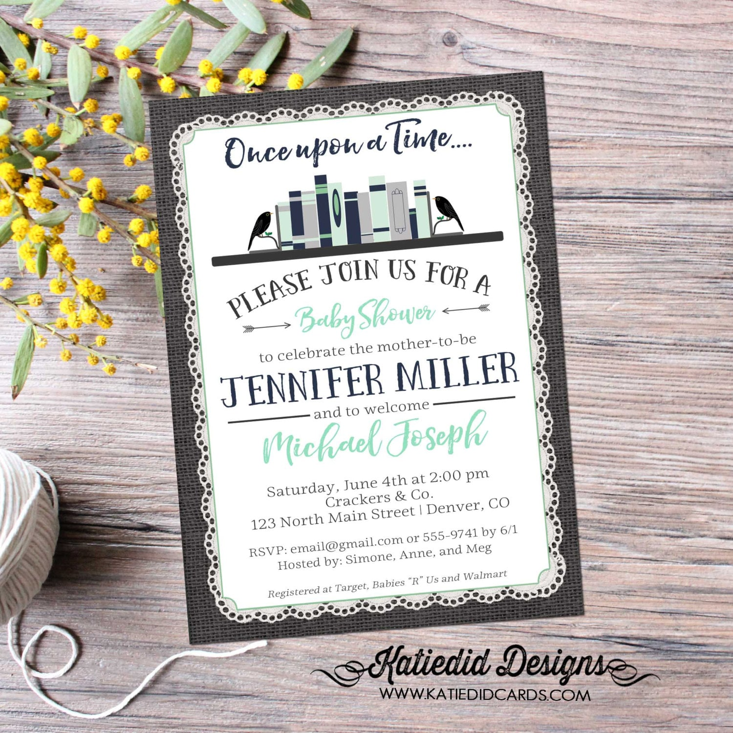 Storybook once upon a time baby shower invitation boy book theme storybook once upon a time baby shower invitation boy book theme diaper wipes brunch couples coed burlap lace navy mint 12122 katiedid filmwisefo
