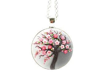 Cherry-blossom necklace Sakura-necklace Tree-Of-Life necklace pendant Tree-Of-Life jewelry Floral pendant necklace Family tree necklace