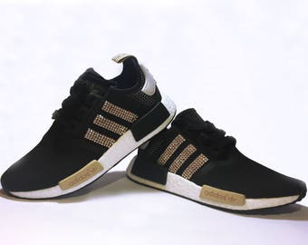 06185d8fd4f ... new zealand womens adidas nmd black runner casual shoes customized with  gold swarovski crystals fb2db 33d89