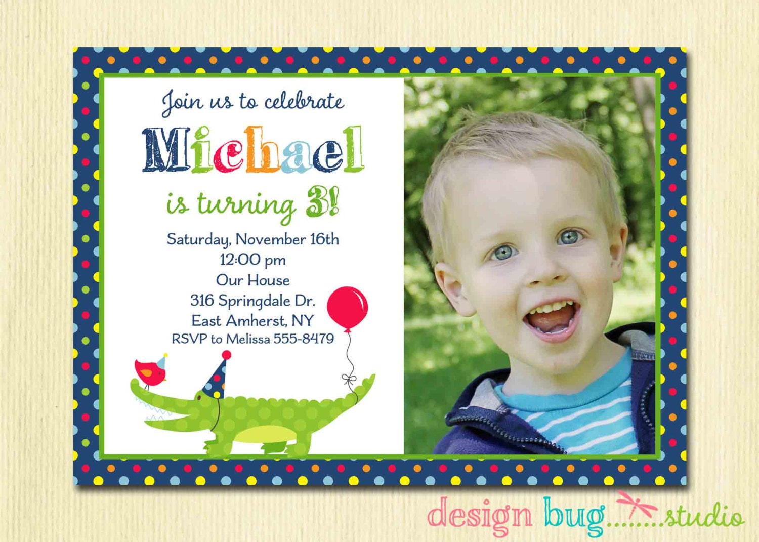 Alligator Birthday Invitation Boys Polka Dot Invite Swamp