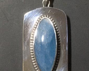 Aquamarine Pendant in Sterling and Bronze