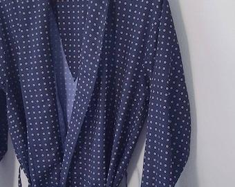 Vintage Oscar De La Renta Navy Print Unisex Robe