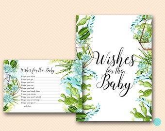 Succulent Wishes for Baby Cards, Wishes for Baby, Wishes for Baby Printable,  Wishes for Baby, Baby Shower Activities, Game Printable TLC519