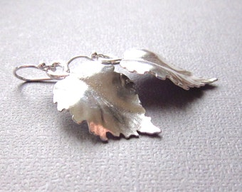 Silver Leaf Earrings, Modern Metal Sterling Silver Earrings, Nature inspired Jewelry