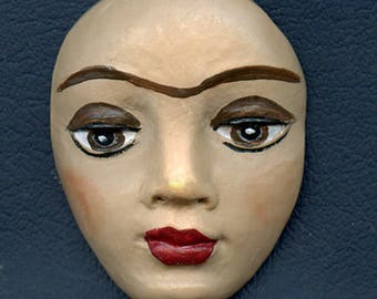 Polymer Clay - Two Inch  detailed  Frida Face with Monobrow FRKF 2