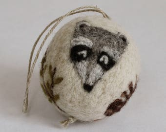 Felted Wool Ball // Raccoon Ornament // Woodland Theme