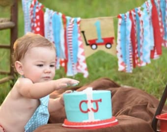 Rag Garland Banner Highchair Banner -  Red Wagon Red Aqua Blue Colors Bunting Personalized - Shower Birthday Banner