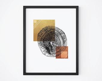 Woodprint Print, Tree Ring Printable, Squares Print, Abstract Woodprint, Modern Woodprint, Geometric Nature Art, Abstract Nature Print
