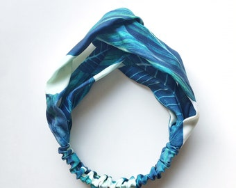 Phyllis Fabric Headband - Turban headband - Tropical Leaves - Boho headband - Womans headband - Adult headband - Blue Green Leaves
