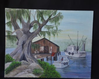 """eb2155 Original Art Painting of Coastline Fishing Boats Gulf Ocean by artist Ruby Avilla....measures about 11"""" x 14""""...."""