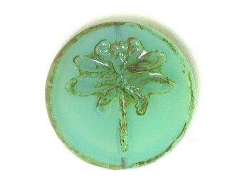 Aqua opaline glass w/ picasso finish 22mm table cut dragonfly coin. One bead or 2 or 4