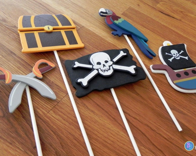 Pirate Shapes - Cake Toppers or Party Decorations pirate ship parrot swords treasure chest flag baby shower birthday party