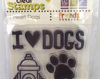 """We R Memory Keepers Friends Furever """"I Heart Dogs"""" Dog-Themed Clear Acrylic Scrapbooking Stamp"""