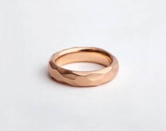 14k 18k Rose Gold Wedding Band, Facet Ring, Rose Gold Chunky Ring, Geometric Women's Ring, Carved Thick Ring,Raw Wedding Ring