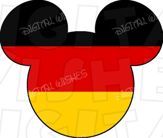 Germany Flag Mickey Mouse Head Ears Digital Iron On Transfer