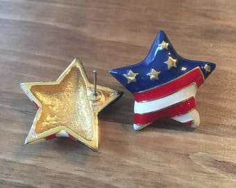 Vintage 1980s star patriotic, red white and blue earrings, Fourth of July