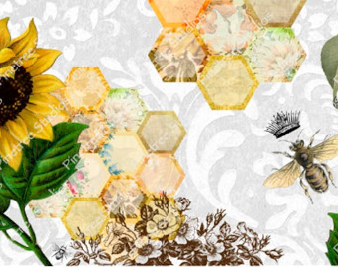 Sunflower and Queen Bee ~ Sublimation Artwork for Mugs / Digital Download Only