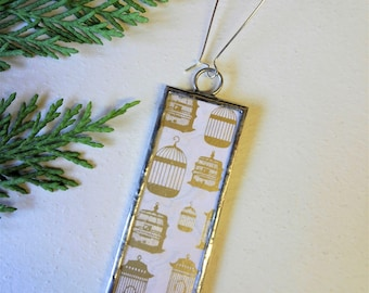 Microscope Slide Glass Decoration > made using original vintage - Birdcage collage paper