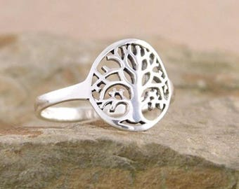 Dainty Tree of Life Ring Sterling Silver Tree of Life Jewelry