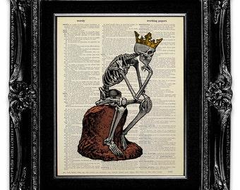 Skeleton Thinker - SKELETON Art Print, Skeleton Print, DOCTOR Gift, ANATOMY Art, Anatomy Print, Medical Student Gift, Skull Gift for Doctor