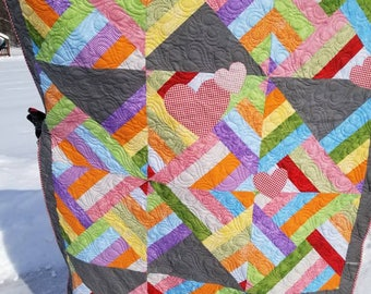 Sweet Hearts Quilted Throw