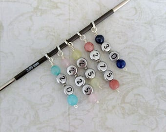Sock knitting stitch markers 5 sizes: 2.0, 2.25, 2.5, 2.75, 3mm. Fits up to 3.00 mm knitting needle Silver plated ring + semi precious beads