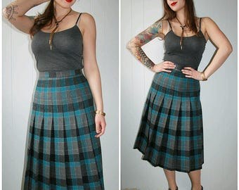 60s Vintage Grey Blue Plaid High Waisted Pleated Wool Midi Skirt