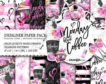 Hello Monday Paper Pack Cute Planner Girl Watercolor Peonies Fashion Illustrations Beauty Blog Digital Backgrounds Printable Stickers DIY