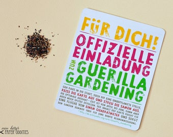 Guerrilla gardening postcard with summer flower seeds