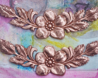 TWO Brass Floral Garlands, Brass Stampings, Necklace Bases, Rose Gold Ox, Made in the USA, Jewelry Making, Jewelry Supplies, Crafting