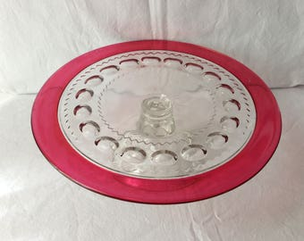 Indiana Glass King's Crown Cake Stand, Indiana glass thumbprint cake stand, pattern number 77, ruby red cake stand