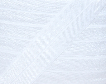 "5 YARDS One Inch White Fold Over Elastic - White 1"" Elastic For Headbands - 5 Yards of One inch FOE - Baby Headbands - Headband Supplies"