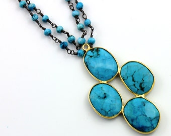 Natural Turquoise Fancy Pendant , 2.1'' Long Bezel Gemstone Component, 24K Gold Vermeil Over Sterling Silver, 25x41mm,1 Piece,(BZC9045/TURQ)