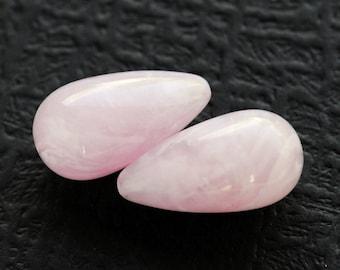 BEAUTIFUL 26x14m Pink Teardrop Beads with Curling Smoke Design...so pretty...Acrylic, Lightweight, (F2-R8-C2), Quantity 2